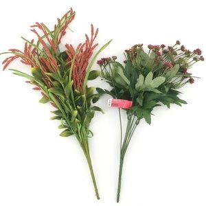 Lot of 2 Faux Bush Flowers Red